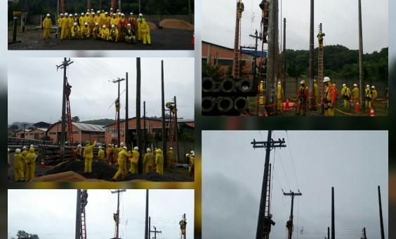 Dia do Desafio hoje em Bento Gonçalves, com foco na instalação de aterramento temporário em situações distintas.